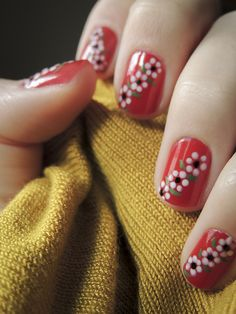 Creative Flower Nails Art For Your Valentines Day 46 Cute Nail Art, Easy Nail Art, Cute Nails, Pretty Nails, Red Nails, Hair And Nails, Art Deco Nails, Finger Nail Art, Flower Nails