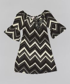 This Black Zigzag Bell-Sleeve Dress - Toddler & Girls by Just Kids is perfect! #zulilyfinds