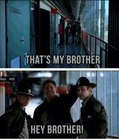 "Supernatural ""hey brother"" lol love it Sam Dean, Jeffrey Dean Morgan, Dean Castiel, Sammy Supernatural, Supernatural Quotes, Sherlock Quotes, Sherlock John, Sherlock Holmes, John Winchester"