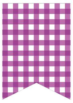 purple gingham Free Printable Banner, Free Banner, Diy Banner, Printable Crafts, Printable Designs, Eid Envelopes, Disney Planner, Classroom Labels, Baby Journal
