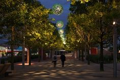 Queen Elizabeth Olympic Park - Public realm lighting design scheme by Spiers + Major and delivered by Michael Grubb Studio.
