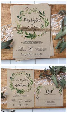 Rustic wedding invitation. Greenery wedding invitation