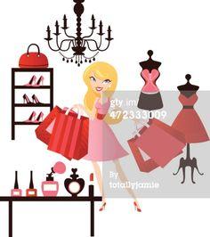Vector Art : Fashion Shopping Girl