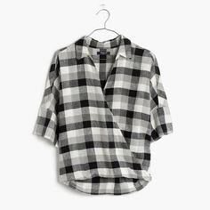 We remade our beloved button-down shirt with an artfully draped front for an even more feminine feel. Consider it perfectly pre-styled, no tuck-in required. <ul><li>Slightly oversized fit.</li><li>Linen/viscose.</li><li>Machine wash.</li><li>Import.</li><li>Madewell.com only.</li></ul>