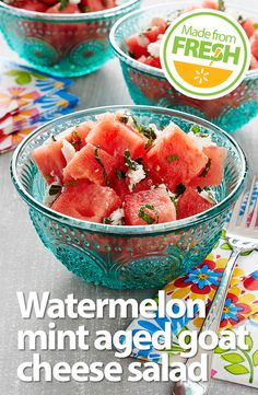 The sweetness of juicy fresh watermelon, the unmistakable tartness of aged goat cheese, the coolness of mint, and the citrusy punch of lime, all in one dish. You have to make this!