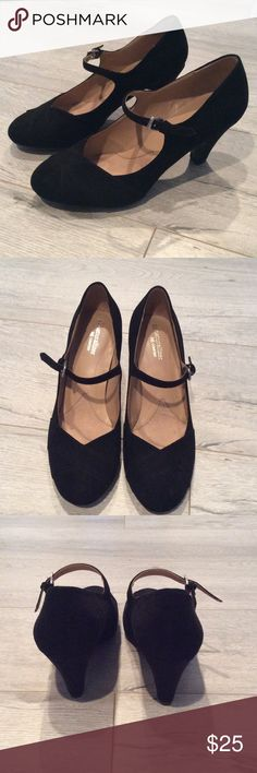 "Naturalizer ""Layton"" Suede Black Mary Jane Heel Only worn twice. Very comfortable and cute!!! Moderate heel. Size 8.5 Wide Naturalizer Shoes Heels"