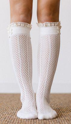 Ivory Lace Trim Knee-High Socks