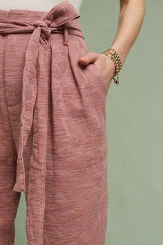 Jacquard Tie-Waist Ankle Trousers