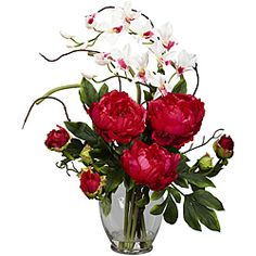 @Overstock.com - Silk 21.5-inch Peony/ Orchid Flower Arrangement - It's your little secret this silk orchid flower arrangement wasn't just delivered by the florist. Featuring a bouquet of replica orchid and peony blooms in a clear glass vase, this elegant accent in your pick of three colors will liven up any room. http://www.overstock.com/Home-Garden/Silk-21.5-inch-Peony-Orchid-Flower-Arrangement/5836002/product.html?CID=214117 $58.99