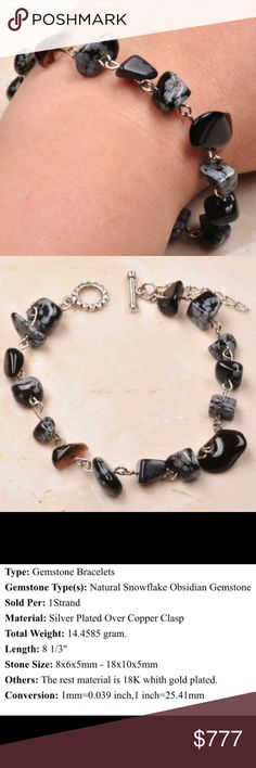 COMING SOON Snowflake Obsidian Bracelet Snowflake obsidian gemstone silver plated chips bracelet. All my gems come from a USA wholesaler. NWOT from wholesaler. Check out my other items for a bundle discount. PRICE FIRM UNLESS BUNDLED!!! Jewelry Bracelets