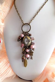 Victorian Bronze  Watch Charm Necklace Powder by TreasuresofJewels