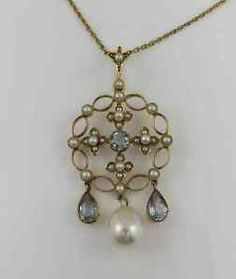Antique 15k Aquamarine Pearl Lavaliere Necklace w Seed Pearls
