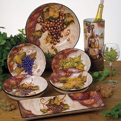 Old World Tuscan Dinnerware | Tuscan Old World Wine Cellar Dinnerware 24 Pcs Set | eBay & grape themed kitchens | Wine u0026 grape Tuscan Decorative Wall Plate ...