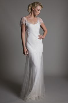20's-40's inspired dresses are definitely what I am drawn to! This is gorgeous!!! Lace and satin wedding dress by http://www.halfpennylondon.com/ Wedding dress by Halfpenny London | Bridal Fashion by Kate Halfpenny