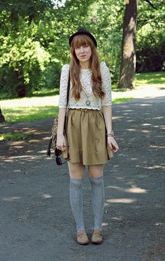 lace top, skirt and knee highs with oxfords
