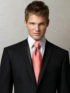 Black suit + coral ties