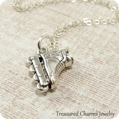 Inline Skate Necklace Sterling Silver by treasuredcharms on Etsy