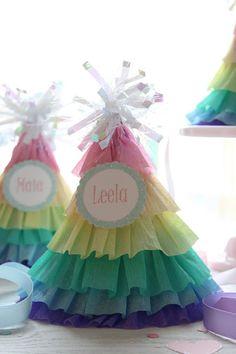 DIY rainbow ruffle party hats or baby shower centerpiece Rainbow Parties, Rainbow Birthday Party, Elmo Party, Elmo Birthday, Mickey Party, Dinosaur Party, Dinosaur Birthday, Party Party, Beach Party