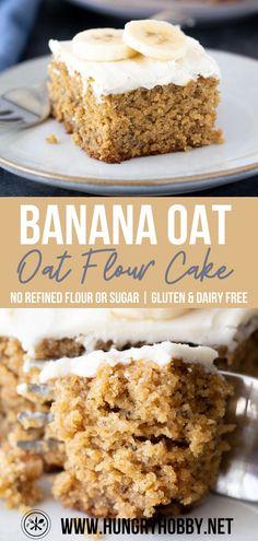 Banana Cake Vegan, Healthy Banana Cakes, Healthy Banana Recipes, Banana Dessert, Banana Oats, Healthy Cake, Healthy Sweets, Healthy Dessert Recipes, Healthy Baking
