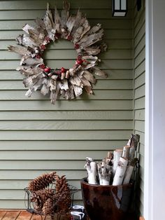 Birch Bark Craft Idea Birch bark crafts and decorating ideas with rustic flair 600 x 431 · 193 kB · jpeg DIY Birch Bark Wreath More like this: holiday wreaths , fall crafts and craft. Best Outdoor Christmas Decorations, Homemade Christmas Wreaths, Holiday Wreaths, Rustic Christmas, Christmas Crafts, Christmas Ornaments, Autumn Wreaths, Homemade Wreaths, Spring Wreaths