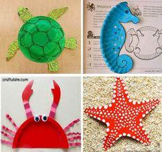 s Crafts Kid's Crafts Ocean Animal Crafts, Ocean Crafts, Animal Crafts For Kids, Summer Crafts For Kids, Beach Crafts, Craft Activities For Kids, Diy For Kids, Toddler Art, Toddler Crafts