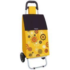 """Carro compra con bolsillo """"mandala"""" amarillo 45 litros"""