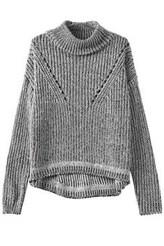 Turtle Neck Color Mixed Openwork Sweater