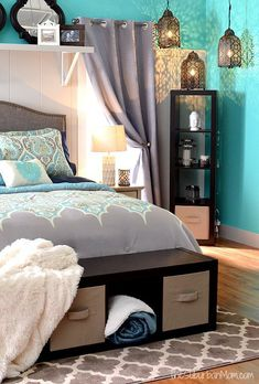 I love everything about this Better Homes And Gardens bedroom.