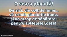 O seara placută! Alba, Beach, Outdoor, Powerful Quotes, Outdoors, The Beach, Outdoor Games, Outdoor Living