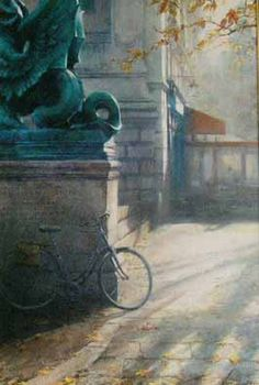 Place Saint Michel by Andrei Krioutchenko at The Weatherburn Gallery in Naples, Florida Picasso, Urban Landscape, Love Art, Art World, House Colors, Water Colors, Bicycles, Gallery, Painters
