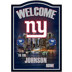 Get ready because the Big Blue is coming home! All your guests will know where your NFL loyalties lie when they catch a glimpse of this first-of-its-kind New York Giants personalized welcome sign, only from The Bradford Exchange Giants Team, Giants Football, Ny Yankees, New York Giants Man Cave Ideas, New York Giants Logo, Personalized Wall Decor, Wooden Welcome Signs, Bradford Exchange, Watch Football