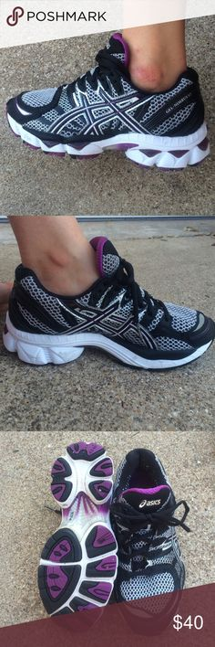 Women's asics GEL-NIMBUS Great used condition women's asics gel running shoes. Black and silver with purple accents. Women's size 6 Asics Shoes Athletic Shoes