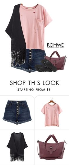 """Romwe T-Shirt"" by tawnee-tnt ❤ liked on Polyvore featuring River Island, Violeta by Mango, Meli Melo and Havaianas"