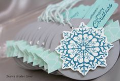 Christmas tag set of 12 handmade Stampin by DeannsCreativeCorner, Snowflake tags Merry Christmas tags