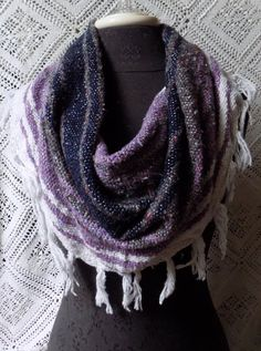 Lavender Mexican Blanket Large Cowl Scarf With Fringe- Free Shipping to Continental US $20.00