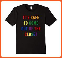 Mens LGBT Funny Tshirts- It's Safe To Come Out Of The Closet Tee XL Black - Funny shirts (*Partner-Link)