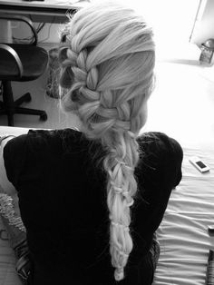 lets get it started !    i love this braid!! it begins as a classic french braid starting on one side of the head, and moves down (still in french braid form) but wraps around the hair:) Wish I had long enough hair for this!