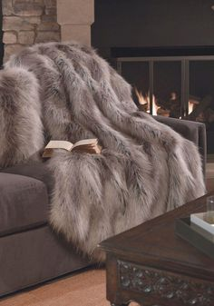 Silver fox limited edition 60 x 60 faux fur throw fabulous furs, cosy bedroom warm Grey Faux Fur Throw, Faux Fur Blanket, Bedroom Sets, Bedroom Decor, Trendy Bedroom, Dream Bedroom, Design Bedroom, Master Bedroom, Future House