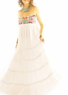 Handmade Mexican Dress from Aida Coronado Corazon Mexicano embroidered layered maxi wedding dress A heart in every piece Maternity Wear, Maternity Dresses, Maxi Dresses, Cute Dresses, Vintage Dresses, Summer Dresses, Mexican Embroidered Dress, Maxi Dress Wedding, Bohemian Dresses