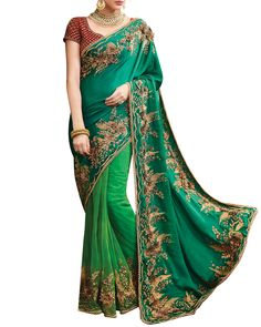 Include Yourself Of The Glamour Of The Season With This Elegant Designer  Saree Intermingled With Green 240f2ddeb3d3a