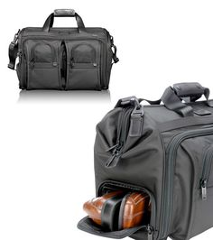 Tumi Alpha Deluxe Carry-On Satchel, made from ballistic nylon. Love that shoe compartment. $445