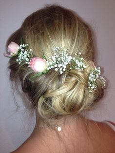 Pretty wedding hair inspiration By Devon wedding hair :) Braid into messy bun with roses and gyp!  Country summer wedding perfect