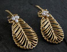 Peacock Feather Earrings  Gold Earrings Gold by gazellejewelry, $75.00