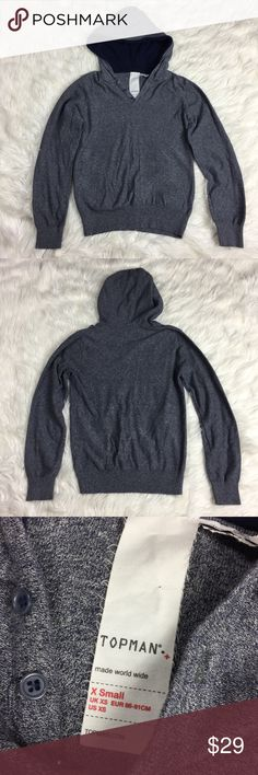 •• Topman • Gray Hooded Hoodie Sweatshirt Topman hooded sweater in excellent condition overall. Only tried on and wore our once. It was bought as a gift and just needed a different size. Fits true to size in my opinion. (LLR3-0343) Topman Shirts Sweatshirts & Hoodies