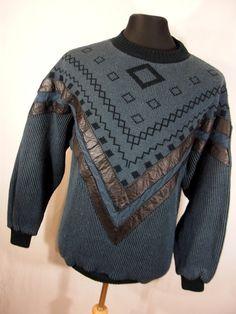 VTG 80's sweater L leather accent blue black crew neck geometric diamond by AmazingTasteVintage on Etsy