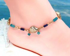 Gold anklet gift for her blue ankle bracelet beach jewelry Cute Gifts For Her, Perfect Gift For Her, Gold Anklet, Anklets, Amber Jewelry, Beach Jewelry, Copper Gifts, Boot Jewelry, Jade Beads
