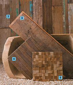 Madeira2. Detalhe de um projeto do arquiteto Vitor Penha no espaço de eventos Manioca: as tábuas de demolição de várias medidas foram presas à alvenaria da parede com barrotes. Execução da Marcenaria Navarro (cerca de R$ 350 o m² colocado).3. De peroba-rosa, o assoalho de demolição da Madel tem 19,5 cm de largura e comprimentos entre 1 e 6 m. Vai em pisos e paredes internos. O m² sai por R$ 158.4.
