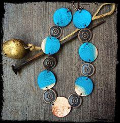 jewelry, bijou, necklace. Колье. Фурнитура под медь, медальоны из полимерной глины.