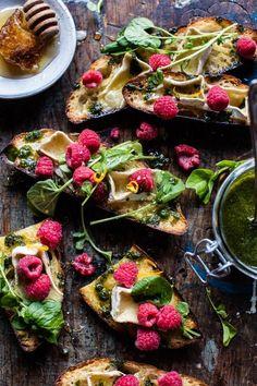 Honey Raspberry Brie Crostini with Basil Oil | halfbakedharvest.com @hbharvest