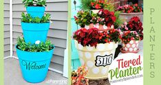 Flower pots are painted and stacked together as front porch decorations.